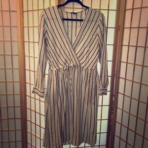 Black pin-striped white linen dress